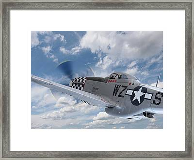 P51 In The Clouds Framed Print by Gill Billington