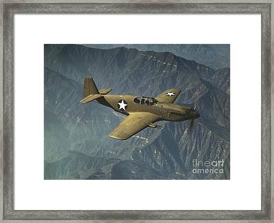 P51 Mustang In Flight Framed Print by Padre Art