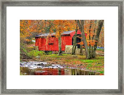 Pa Country Roads- Bartrams / Goshen Covered Bridge Over Crum Creek No.11 Chester / Delaware Counties Framed Print by Michael Mazaika