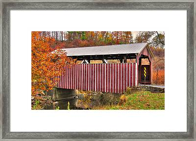 Pa Country Roads - Himmel's Church Covered Bridge Over Schwaben Creek No. 2 - Northumberland County Framed Print by Michael Mazaika