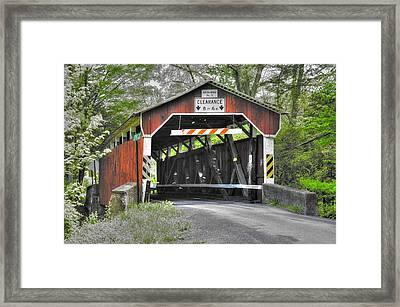 Pa Country Roads - Richards Covered Bridge Over Roaring Creek No. 1b-alt - Columbia County Framed Print by Michael Mazaika