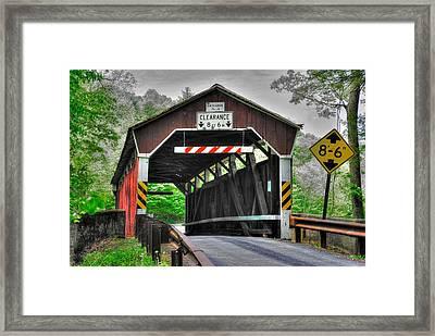 Pa Country Roads - Richards Covered Bridge Over Roaring Creek No. 6b-alt - Columbia County Framed Print by Michael Mazaika