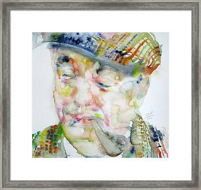 Pablo Neruda - Watercolor Portrait.6 Framed Print by Fabrizio Cassetta