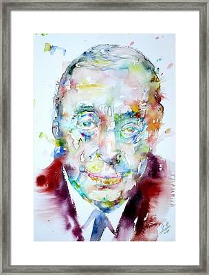 Pablo Neruda - Watercolor Portrait.4 Framed Print by Fabrizio Cassetta