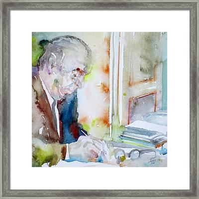 Pablo Neruda - Watercolor Portrait.8 Framed Print by Fabrizio Cassetta