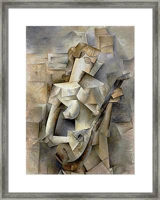 Pablo Picasso Girl With A Mandolin 1910 Framed Print