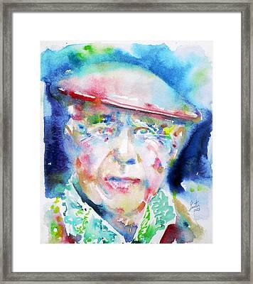 Pablo Picasso - Watercolor Portrait.4 Framed Print by Fabrizio Cassetta