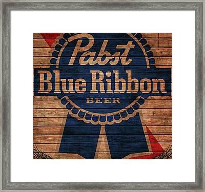 Pabst Blue Ribbon Barn Door Framed Print by Dan Sproul