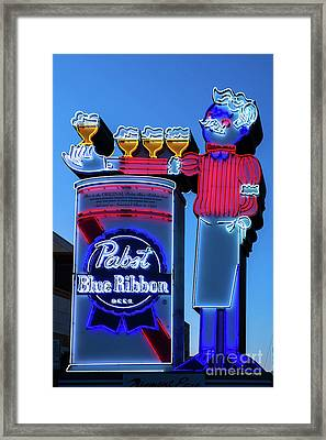 Pabst Blue Ribbon Neon Sign Fremont Street Framed Print