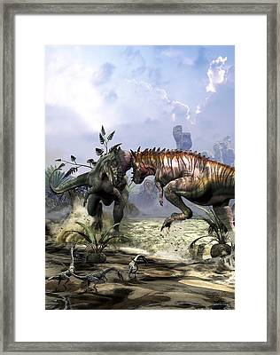 Pachycephalosaurus Fighting For Dominance Framed Print by Kurt Miller
