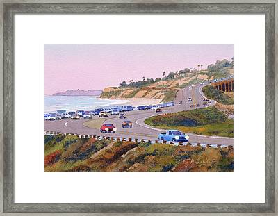Pacific Coast Hwy Del Mar Dusk Framed Print by Mary Helmreich