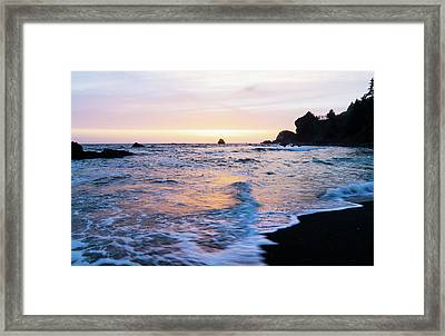 Framed Print featuring the photograph Pacific Coast Sunset by TL Mair