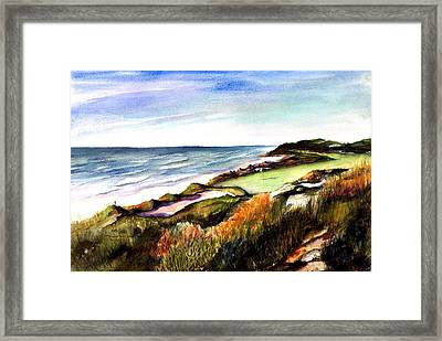 Framed Print featuring the painting Pacific Dunes Golf Course by Marti Green