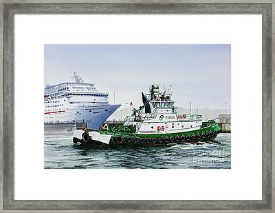 Framed Print featuring the painting Pacific Escort Cruise Ship Assist by James Williamson