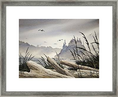 Pacific Northwest Driftwood Shore Framed Print