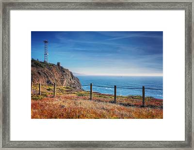 Pacific Ocean View Towards Point Bonita Lighthouse - Marin Headlands  Framed Print by Jennifer Rondinelli Reilly - Fine Art Photography