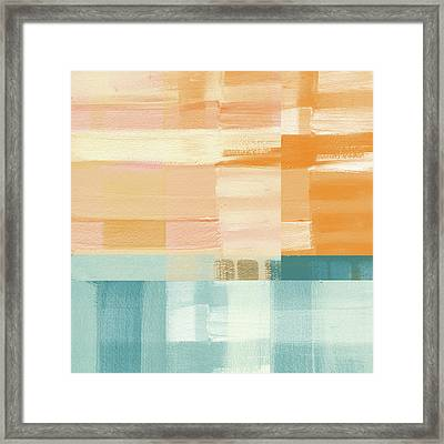 Pacific Sunset- Abstract Art By Linda Woods Framed Print