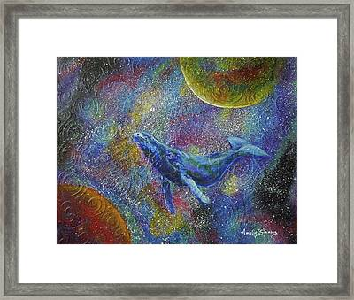Framed Print featuring the painting Pacific Whale In Space by Amelie Simmons