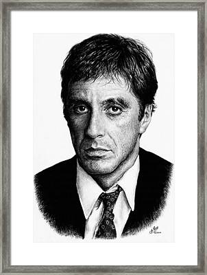 Pacino Scarface Framed Print by Andrew Read