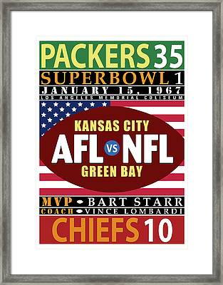 Packers 35 Chiefs 10 Super Bowl 1 Framed Print