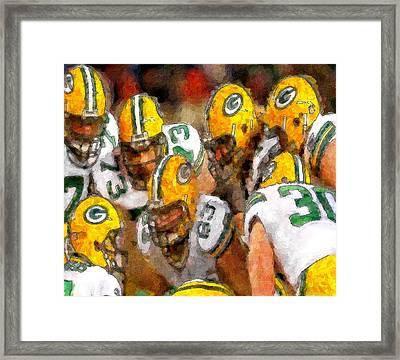 Packers Huddle Up Framed Print by John Farr