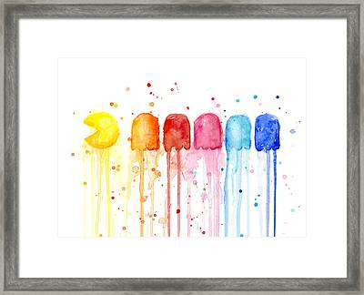 Pacman Watercolor Rainbow Framed Print