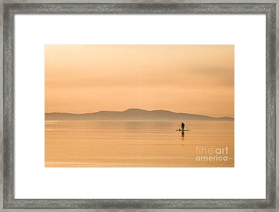 Paddle Boarding At Sunrise Framed Print