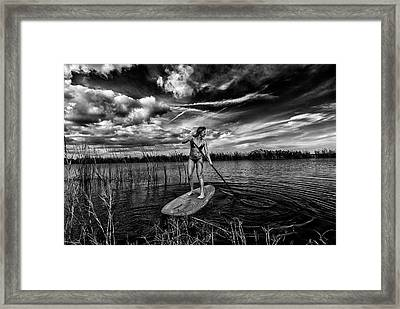 Paddle Boarding Framed Print by Kevin Cable