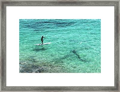 Paddle The Aqua Sea Framed Print