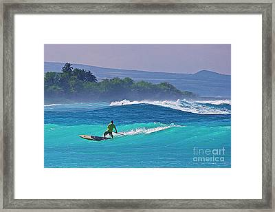 Paddleboarder Rides The Outside Break Framed Print