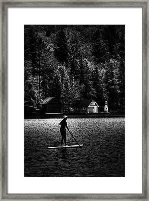 Paddleboarding At Sunset Framed Print