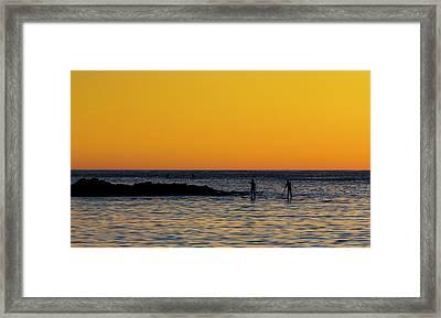 Paddleboarding  - Mackinzie Beach Yellow Sunset Framed Print