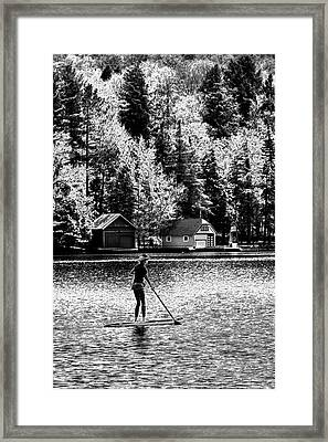 Paddleboarding On Old Forge Pond Framed Print