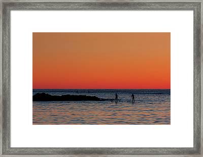Paddleboarding Pairs - Mackinzie Beach Sunset Framed Print by Mark Kiver