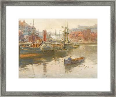 Paddler Steamer And Other Vessels Framed Print by George Stevens