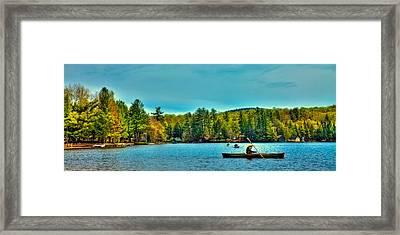 Paddlers On Old Forge Pond 2 Framed Print