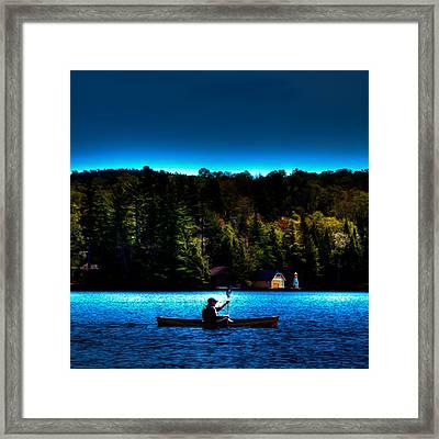 Paddling At Sunset - Old Forge Pond Framed Print