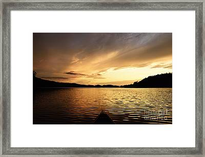 Framed Print featuring the photograph Paddling At Sunset On Kekekabic Lake by Larry Ricker