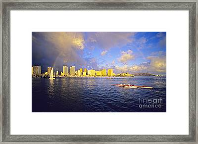 Paddling Beneath Rainbow Framed Print by Carl Shaneff - Printscapes