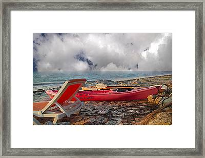 Paddling Into The Horizon  Framed Print