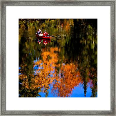Paddling The Moose River In Autumn Framed Print