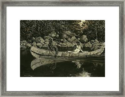 Paddling The Wounded British Officer Framed Print by Frederic Remington
