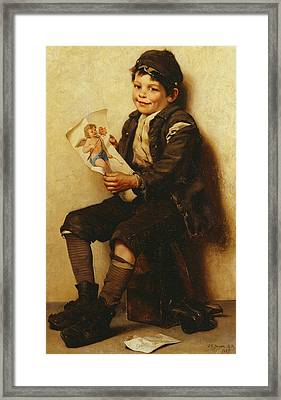 Paddy's Valentine Framed Print by John George Brown