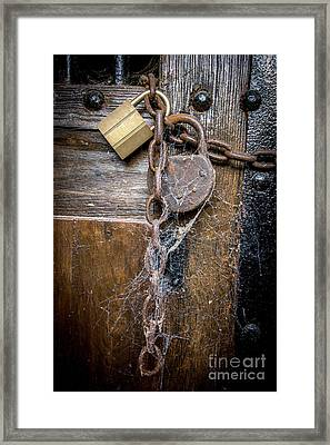 Padlock And Wooden Door Framed Print by Bernard Jaubert