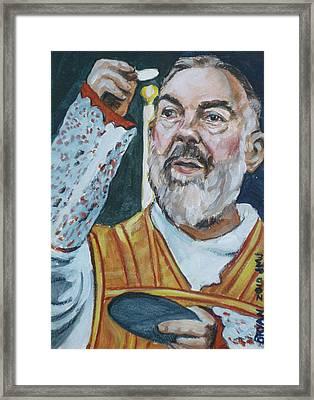 Padre Pio Framed Print by Bryan Bustard