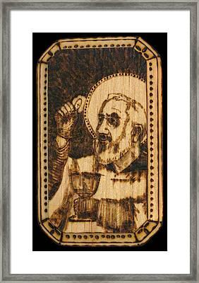 Padre Pio Pyrograph Framed Print