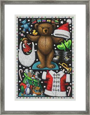 Page 1 Of 2 Teddy Bear Santa Claus Paper Doll Framed Print