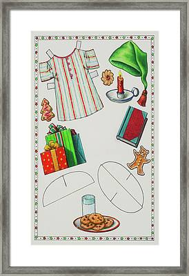Page 2 Of 2 Teddy Bear Santa Paper Doll Framed Print by Lynn Bywaters