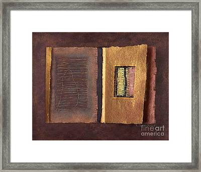 Framed Print featuring the painting Page Format No 2 Transitional Series  by Kerryn Madsen-Pietsch