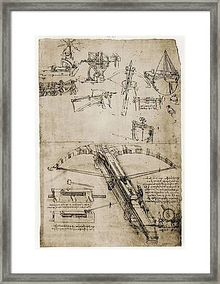 Page From The Notebooks Of Leonardo Da Framed Print